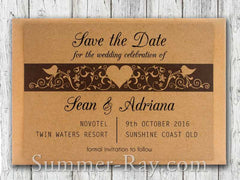 Personalized Kraft Forever Love Save the Date Card with Envelope