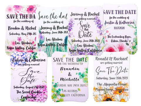 Personalized Save The Date Tags Invitation for Rustic Wedding with Water Color Floral Design
