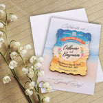 Personalized Wooden Beach Theme Save The Date Fridge Magnet Wedding Invitation with Cards & Envelopes