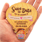 Personalized Wooden Save the Date Fridge Magnet Wedding Invitation with Cards & Envelopes
