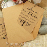 Personalized Damask Scallop Kraft Save the Date Tags with Envelopes
