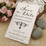 Personalized Damask Scallop White Save the Date Tags with Envelopes