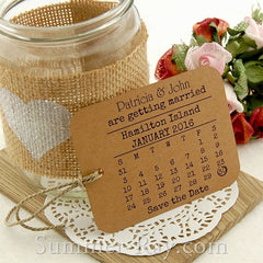 Personalized Calendar Kraft Save the Date Tags with Envelopes
