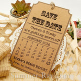 Personalized Vintage Calendar Kraft Save the Date Tags with Envelopes