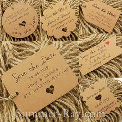 Personalized Kraft Wedding Save the Date Tags