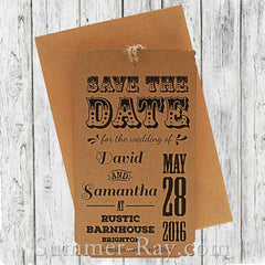 Personalized Retro Design Kraft Save the Date Tags with Envelopes