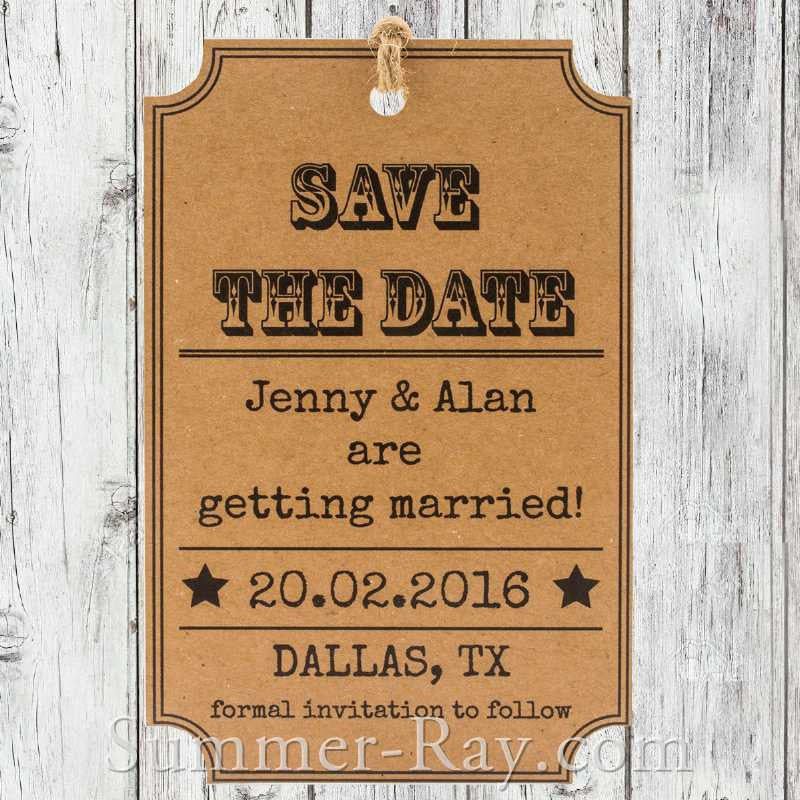 Personalized Woodsy Cottage Kraft Save the Date Tag with Envelope