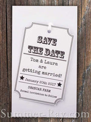 Personalized Woodsy Cottage White Save the Date Tag with Envelope