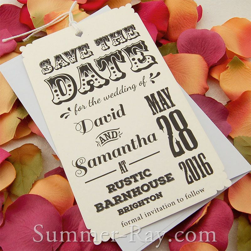 Personalized Retro Design Off White Save the Date Tags with Envelopes