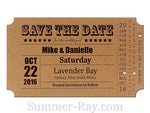 Personalized Vintage Ticket Kraft Save the Date Card with Envelope