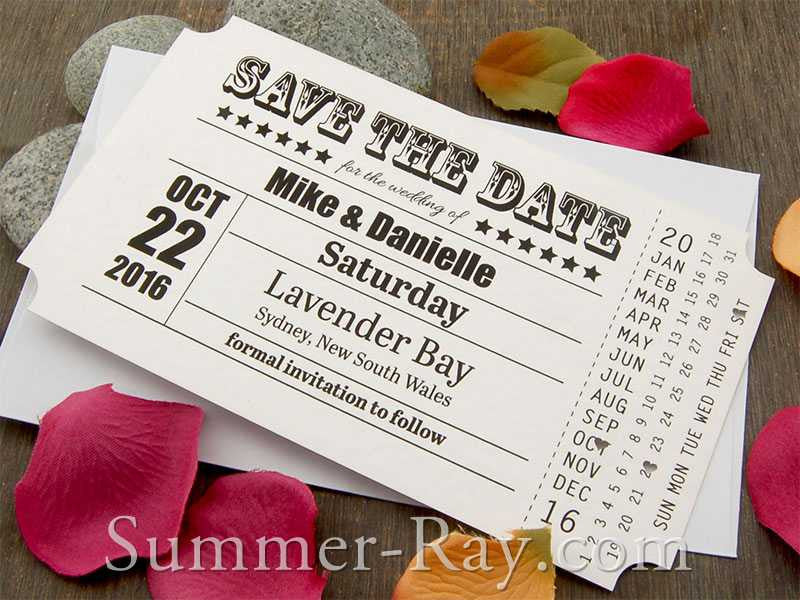 Personalized Vintage Ticket White Save the Date Card with Envelope