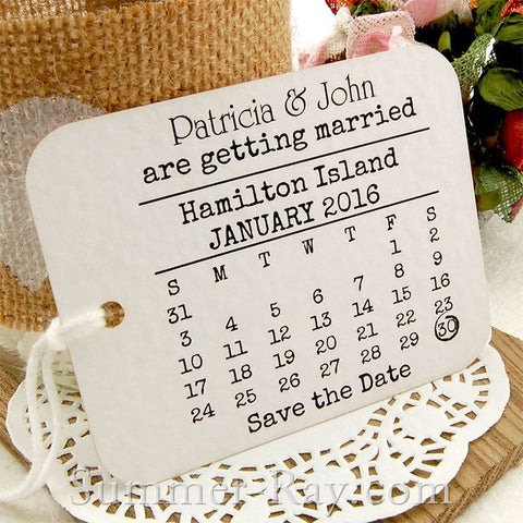 Personalized Calendar White Save the Date Tags with Envelopes