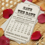 Personalized Vintage Calendar White Save the Date Tags with Envelopes