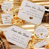 Personalized White Wedding Save the Date Tags