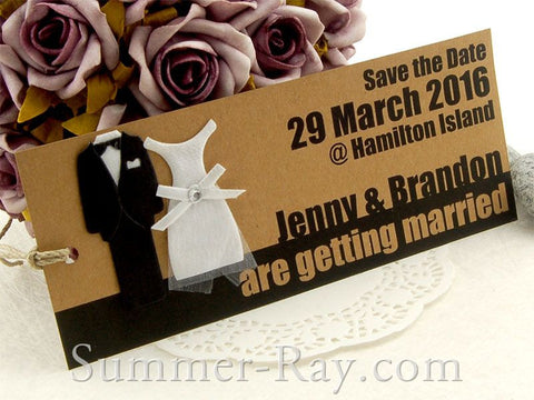 Personalized Tuxedo and Gown Entrance Ticket Kraft Save the Date Tags