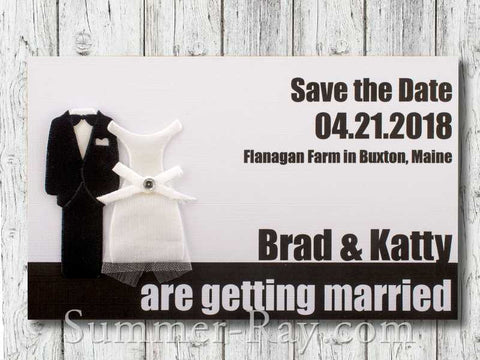 Personalized Tuxedo and Gown Entrance Ticket White Save the Date Tags