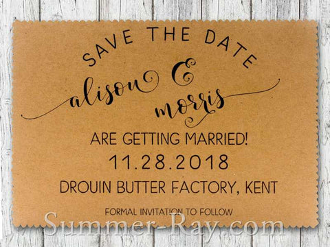 Personalized Kraft Modern Rustic Save the Date Card with Envelope