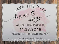 Personalized White Romantic Splash Save the Date Card with Envelope