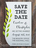 Personalized White Swirled Vine Save the Date Card with Envelope