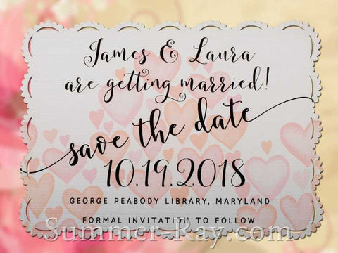 Personalized White Romantic Heart Save the Date Card with Envelope