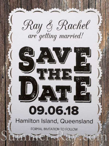 Personalized White Vintage Lace Save the Date Card with Envelope