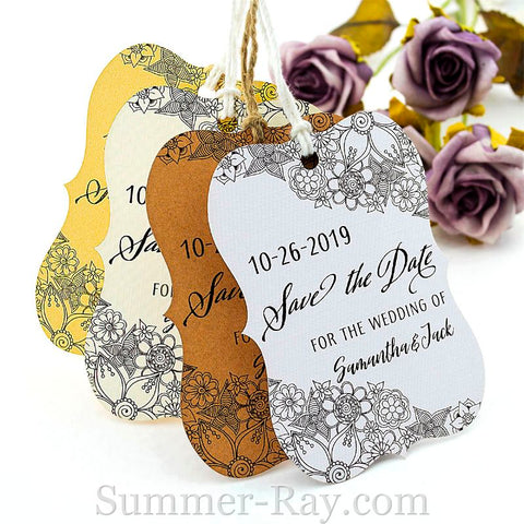 Personalized Little Violin Save the Date (I) Tags with Twine