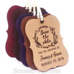 Personalized Suede Leather Little Violin Save the Date (III) Tags