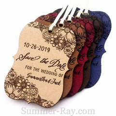Personalized Suede Leather Little Violin Save the Date (I) Tags