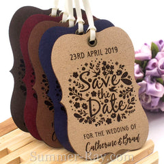 Personalized Suede Leather Little Violin Save the Date (IV) Tags