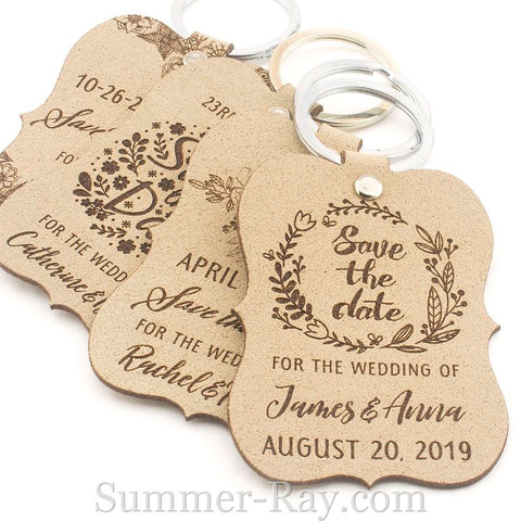 Personalized Beige Suede Leather Little Violin Save the Date Key Chains