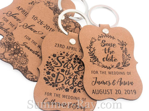 Personalized Brown Suede Leather Little Violin Save the Date Key Chains