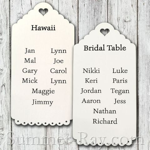 Personalized White Vintage Lace Seating Plan Tag