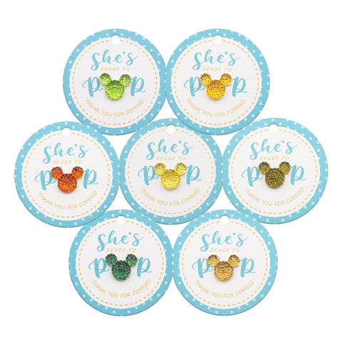 Baby Shower Ready to Pop Favor Gift Tags with Mixed Color Rhinestone
