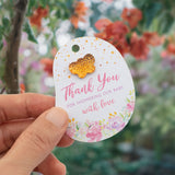 Floral Theme Baby Shower Thank You for Showering Our Baby with Love Favor Gift Tags with Mixed Color Butterfly Rhinestone