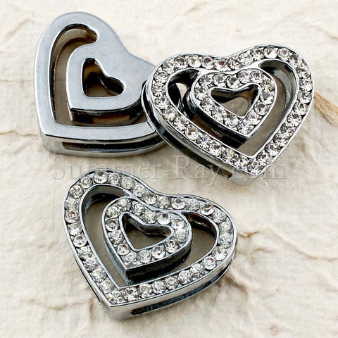 Rhinestone Studded Double Heart Buckle with Wrist Strap