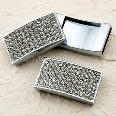 Rhinestone Studded Solid Rectangle Buckle with Wrist Strap