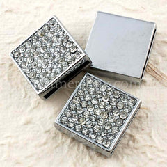 Rhinestone Studded Solid Square Buckle with Wrist Strap