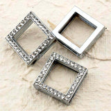 Rhinestone Studded Square Buckle with Wrist Strap