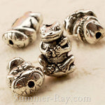 Tibetan Antique Silver Frog Spacer Beads