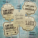 Personalized Let Love Sparkle Cream Wedding Sparkler Tags