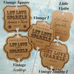 Personalized Let Love Sparkle Kraft Wedding Sparkler Tags