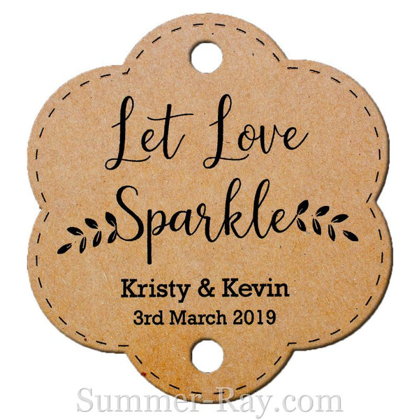 Personalized Let Love Sparkle Scallop Wedding Sparkler Tags