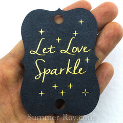 Gold Foil Hot Stamping Let Love Sparkle Wedding Sparkler Tags