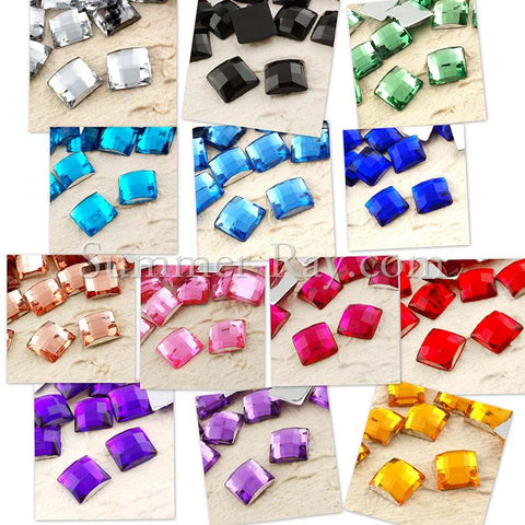 Rhinestones 10mm Square - 100 pcs to 1000 pcs