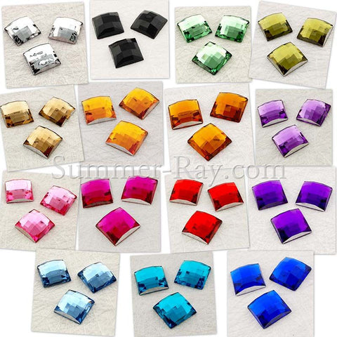 Rhinestones 12mm Square - 50, 250, or 500 pieces