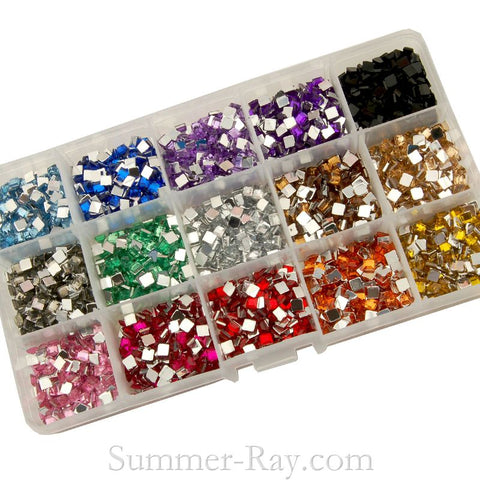 Rhinestones 4mm Square Mixed Color in Storage Box - 3000 pieces