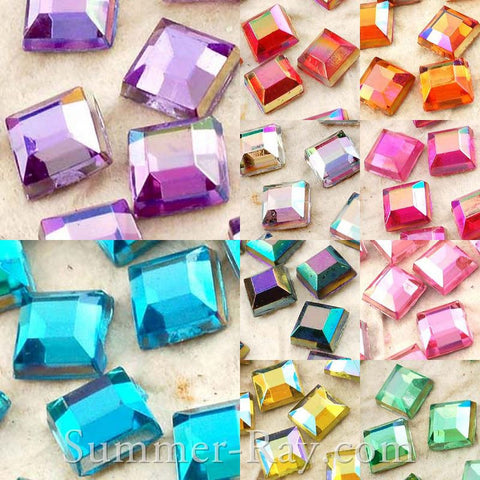 Rhinestones 4mm AB Square - 500, 2000 or 5000 pieces