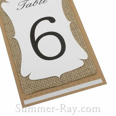 Handmade Kraft Burlap White Double Sided Table Number