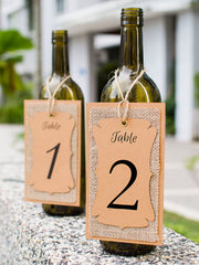 Handmade Table Number Kraft-Burlap-Kraft Triple Layer Wine Bottle Table Number Hang Tags for Rustic Weddings
