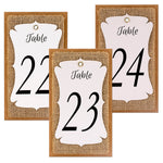 Handmade Table Number White-Burlap-Kraft Triple Layer Wine Bottle Table Number Hang Tags for Rustic Weddings